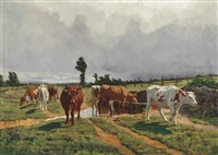 cattle watering by a stream by rené peyrol