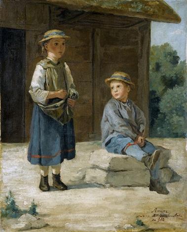 zwei kinder vor einer scheune by albert anker