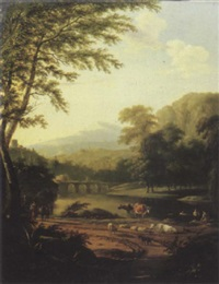 an italianate river landscape, with a peasant woman returning from a market by pieter gaal