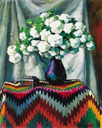 snowball flowers in blue vase by géza kádár