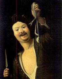 jeune garçon tenant un poisson épulché by christian van couwenbergh