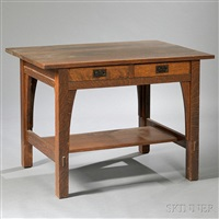 arts & crafts library table by gustav stickley