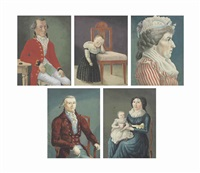 a set of five portraits of the family of johann christian french by continental school (19)