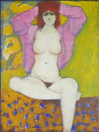 female nude with pink jacket by douglas portway