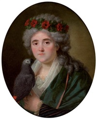 portrait de femme au perroquet et à la couronne de coquelicot by antoine vestier
