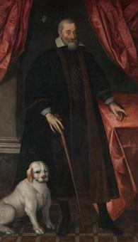 portrait d'homme et son chien by french school (17)