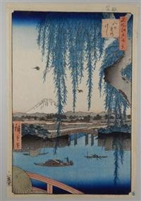 série des 100 vues célèbres d'edo. planche 62 - yatsumi no hashi. le pont yatsumi no hashi, vue depuis le pont ichikoku by ando hiroshige