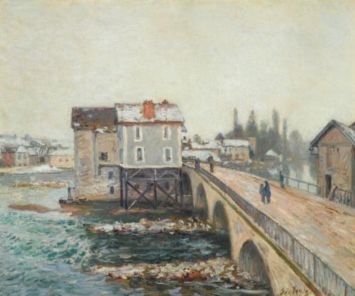 le pont de moret et les moulins - effet d'hiver by alfred sisley