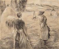 paysannes dans un champ by camille pissarro