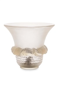 piriac frosted and opal glass vase by rené lalique