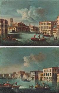 blick entlang eines kanals mit wegkreuzung und zwei booten im vordergrund (+ blick entlang eines kanals, drei boote im vordergrund, pair) by francesco tironi