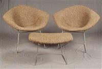 lot de deux fauteuils et un repose pied en métal chromé et tissu, (set of 3) by harry bertoia
