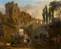 paysans et cavaliers devant la fontaine, derrière des ruines antiques by jacob de heusch