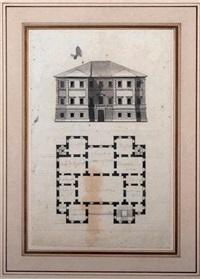 projet pour une villa, plan et élévation de la façade by giacomo quarenghi