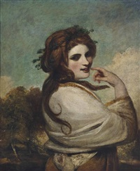 portrait of emma, lady hamilton (1765-1815), as a bacchante, half-length, in a yellow dress and white shawl, in a landscape by joshua reynolds