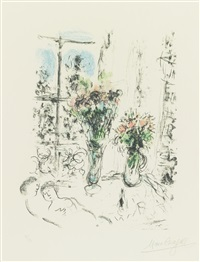 couple with two bouquets by marc chagall