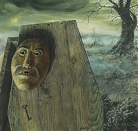 wooden mask hanging on wooden coffin (bk illus. for the three coffins) by tom adams