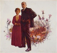 couple with factory and thistle flowers in background (cover study for remember the end) by james avati
