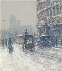 winter, new york (winter morning on broadway) by childe hassam