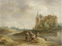 figures fishing in a landscape with a castle in the distance by david teniers the younger