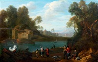 halte au bord d'un lac by david teniers the elder
