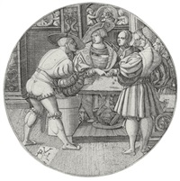 men playing a game of dice by monogrammist p v l