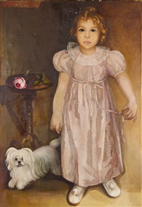 portrait of the artist's daughter maria and her dog djingis by lydia dmitrievsky