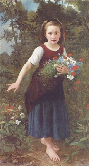 a young girl holding flowers by charles victor thirion