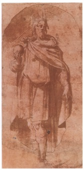 a standing king in a niche by girolamo mazzola bedoli