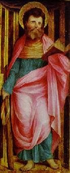 saint james the less standing in a niche by romanino (girolamo romani)