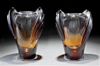 marrakech dark amber crystal vases (pair) by rené lalique