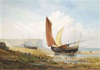 fisherfolk on the normandy coast by leon gaucherel