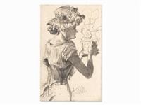woman with flowerpot by adolph von menzel