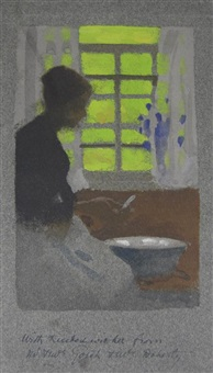 by a cottage window by thomas cooper gotch