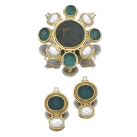 demi-parure comprising a brooch with a pair of ear clips (set of 2) by elizabeth gage