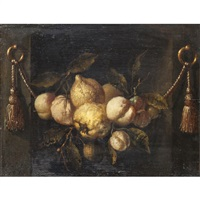a still life of lemons, peaches and grapes in a niche with swags by juriaen van streeck
