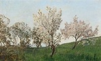 landscape with cherry trees by janus andreas barthotin la cour