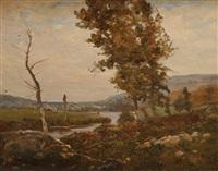 paysage à la rivière by louis alexandre cabié
