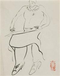 jeune femme dessinant by sanyu