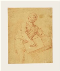 study of a man carrying a chest by pieter lastman