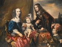 an elegant family portrait, traditionally identified as colonel john hutchinson and his family by jürgen ovens
