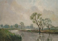 cattle feeding on the banks of the river by william jackson