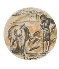 salida de toro i, de la serie tauromaquia ix, variación i by raúl anguiano