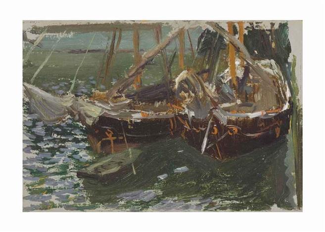 barcas en el puerto boats in port by joaquin sorolla y bastida