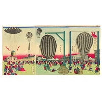 fusen shoyo zu - balloon ascension (triptych, various sizes, oban tate-e) by utagawa yoshitora