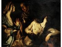 saint sebastian tended by saint irene by michelangelo merisi da caravaggio