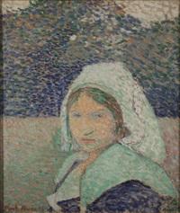 jeune bretonne à pont-aven by émile bernard