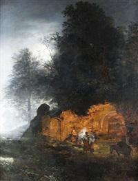 abendstimmung über der ruine by oswald achenbach