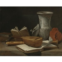 still life with a lute, a recorder, books, a marble covered vase and other objects resting on a table by cristoforo munari