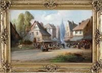 scène de marché dans un village by paul denarie